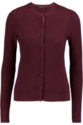 Marc By Marc Jacobs Waffle Knit Cotton Cardigan Burgundy