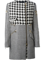 Marco Bologna Zipped Houndstooth Coat Black