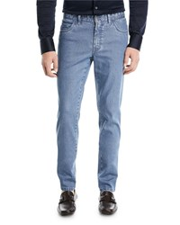 Brioni Straight Leg Stretch Denim Jeans Blue