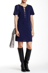 Romeo And Juliet Couture Lace Up Shift Dress Blue