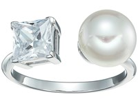 Majorica 9Mm Round Pearl And Cz Ring On Sterling Silver White Ring