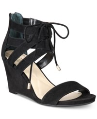Alfani Women's Karlii Lace Up Wedge Sandals Only At Macy's Women's Shoes Black