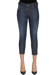 Dsquared Cool Girl Cropped Cotton Denim Jeans Blue
