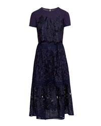 Ted Baker Jenelle Layered Lace Midi Dress Dark Blue