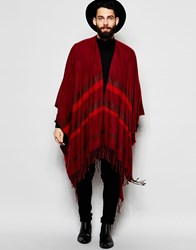 Asos Striped Cape In Burgundy Red