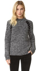 J.O.A. Lace Up Sweater Heather Grey