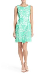 Women's Donna Ricco Embroidered Organza Fit And Flare Dress