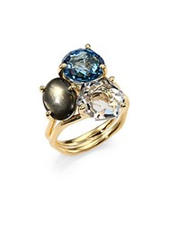 Ippolita Rock Candy Gelato Tartanset London Blue Topaz Green Amethyst Citrine And 18K Yellow Gold Three Stone Ring