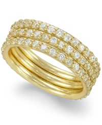 B. Brilliant 18K Gold Over Sterling Silver Ring Set Cubic Zirconia Three Ring Set 1 1 2 Ct. T.W.