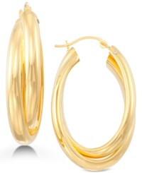 Signature Gold Oval Twist Hoop Earrings In 14K Over Resin Created For Macy's Gold
