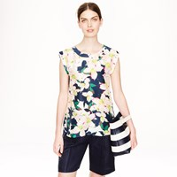 J.Crew Sleeveless Drapey Top In Cove Floral