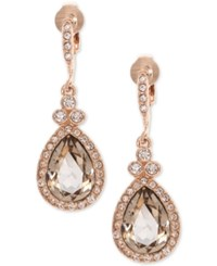 Givenchy Teardrop Crystal And Pave Clip On Drop Earrings Rose Gold