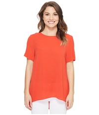Vince Camuto Specialty Size Petite Short Sleeve High Low Hem Textured Blouse Dynamic Red Women's Blouse Orange