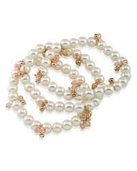 Ralph Lauren Beaded Stretch Bracelets Set Of 3 White Gold