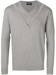 Les Hommes Double V Neck Sweater Grey