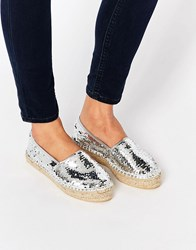 Asos Jelly Bean Sequin Espadrilles Silver Sequin