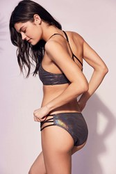 Out From Under Foil Strappy Bikini Bottom Silver