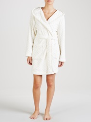 John Lewis Short Spot Hooded Robe Ivory