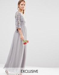 Maya Wrap Front Pleated Maxi Dress With Lace Sleeve Grey