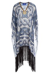Elena Makri Embellished Print Tunic With Fringe Blue