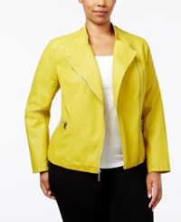 Alfani Plus Size Faux Leather Moto Jacket Only At Macy's Luxe Lime