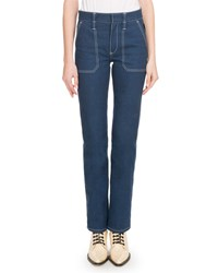 Chloe Straight Leg Jeans With Contrast Topstitching Medium Blue