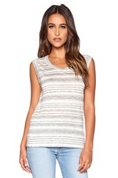 Velvet By Graham And Spencer Heather Stripe Linen Lada Dress Gray