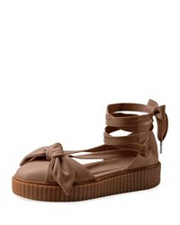 Fenty Puma By Rihanna Leather Bow Creeper Sandal Natural Natural Oatmeal