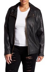 Kenneth Cole Faux Leather Moto Jacket Plus Size Black