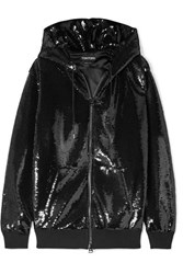 Tom Ford Sequined Satin Hooded Top Black