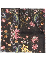 Roberto Cavalli Floral Print Scarf Women Silk Polyester Cashmere Polyimide One Size Black