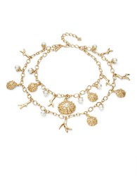 Oscar De La Renta Sea Urchin And Faux Pearl Tiered Statement Necklace Gold
