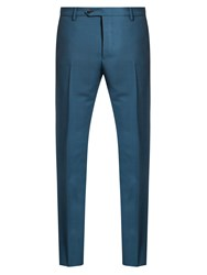 Valentino Slim Leg Mohair And Wool Blend Trousers Mid Blue