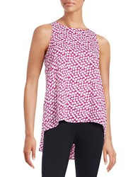 Vince Camuto Petite Geometric Hi Lo Top Purple