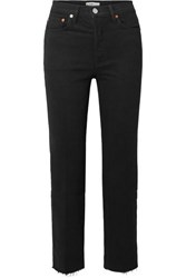 Re Done Stove Pipe Comfort Stretch Cropped High Rise Straight Leg Jeans Black