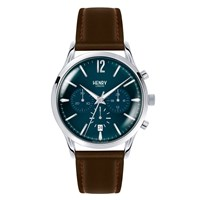 Henry London Men's 41Mm Knightsbridge Chronograph Brown Leather Strap Watch Blue Silver Brown