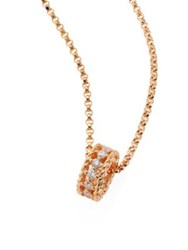 Roberto Coin Symphony Braided Diamond And 18K Rose Gold Pendant Necklace