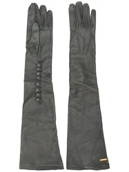 Dsquared2 Calf Leather Long Gloves Grey
