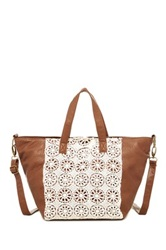T Shirt And Jeans Crochet Front Tote Brown