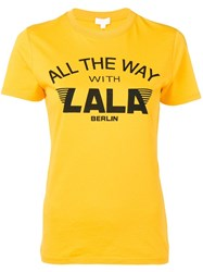 Lala Berlin Logo Print T Shirt Yellow