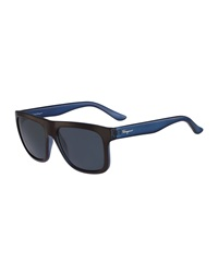 Salvatore Ferragamo Color Block Flat Top Plastic Sunglasses Brown Blue