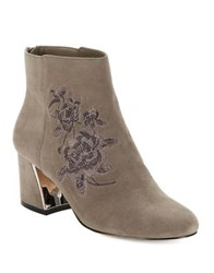 424 Fifth Elena Almond Toe Suede Booties Volcano