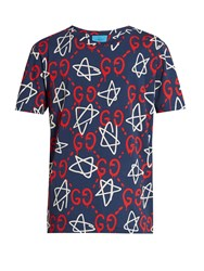 Guccighost Print Crew Neck T Shirt Blue