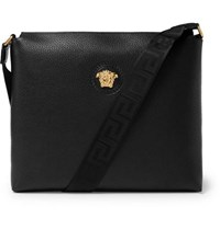 Versace Logo Detailed Full Grain Leather Messenger Bag Black
