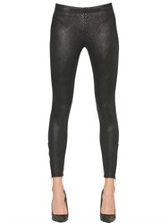 David Lerner Snakeskin Print Stretch Jersey Leggings
