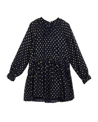 Mayoral Georgette Metallic Polka Dot Dress Size 8 16 Blue