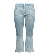 Alexander Wang Denim Flared Cropped Leather Trousers Female Blue