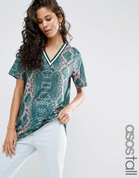 Asos Tall T Shirt In Bright Snake Print With Stripe Tipping In Longline Multi