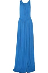 Just Cavalli Draped Stretch Jersey Gown Bright Blue