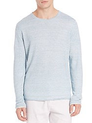 Vince Double Layer Linen Crewneck Thermal Aqua